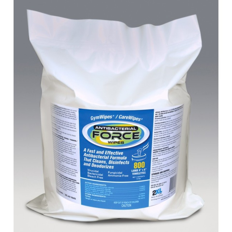 2XL Corp Gym Wipes / CareWipes Antibacterial Force Refill