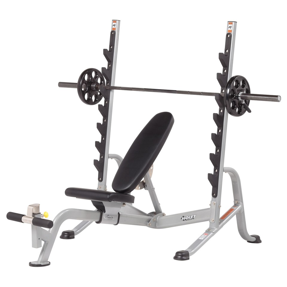 HOIST HF-5170 7 Position F.I.D Olympic Bench With Olympic Bar