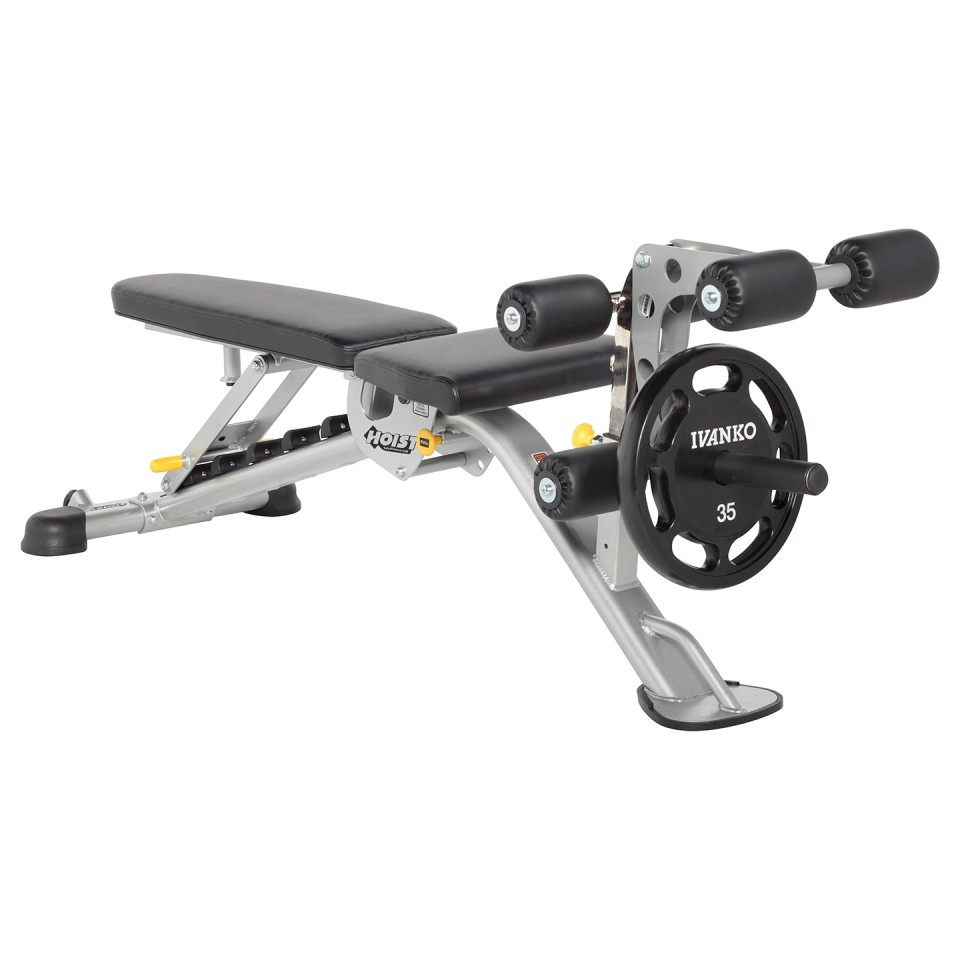HOIST HF-5165 7 Position FID Bench with Leg Curl Attachment - Flat