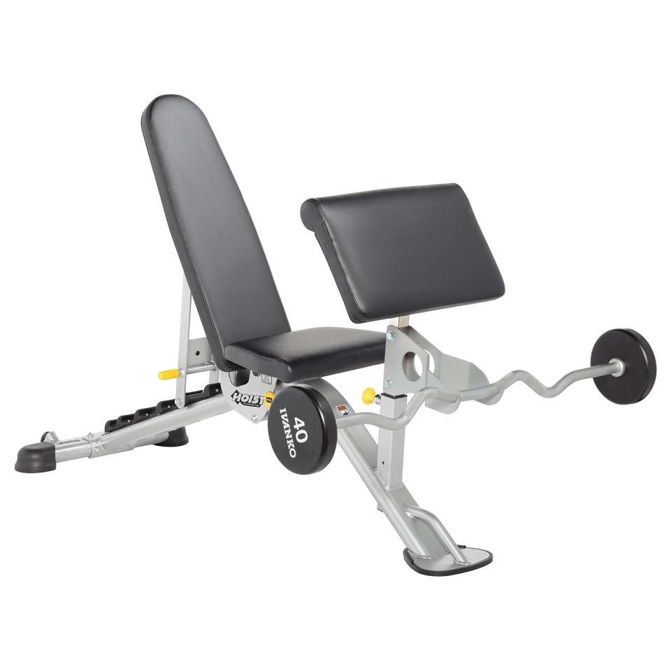 HOIST HF-5165 7 Position FID Bench with Preacher Curl Attachment and Weights