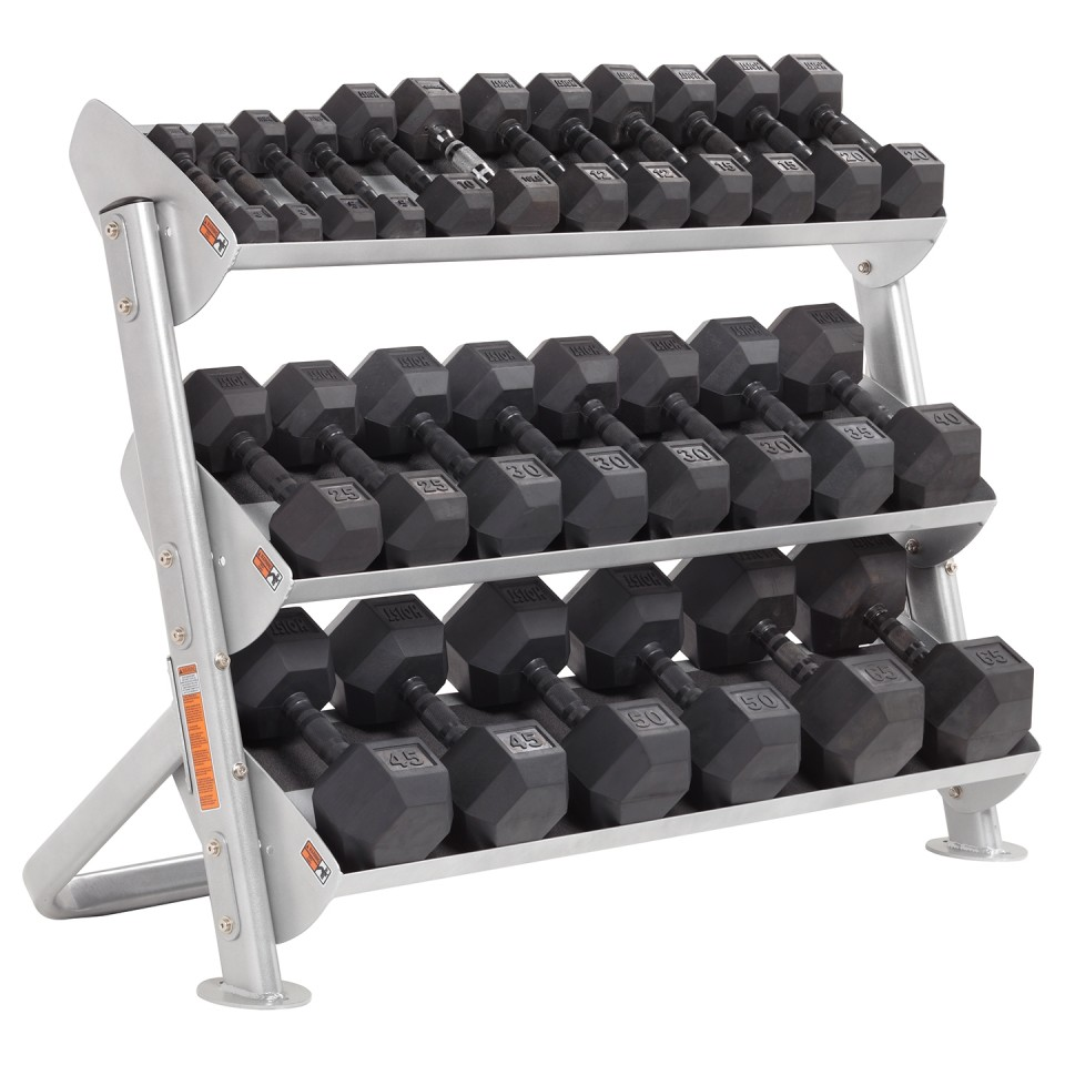 "HOIST HF-5461-36 2 Tier 36"" Hex Dumbbell Rack With Optional 3rd Tier With Dumbbells"