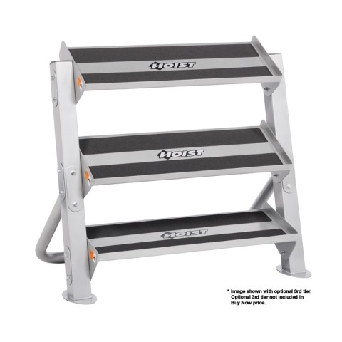 The Hoist 2-Tier 3ft. Hex Dumbbell Rack holds and organizes your dumbbells on its non-skid surface.