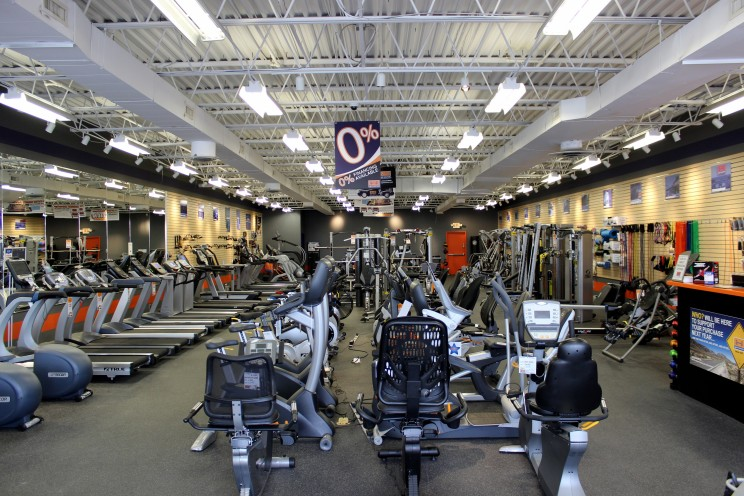 Our fitness equipment showroom. Yes, we offer 0% financing.