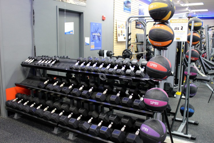 Free weights and medicine balls.
