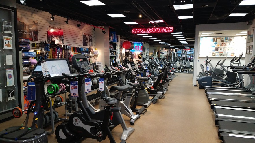 Exercise bikes, upright bikes, indoor cycles.